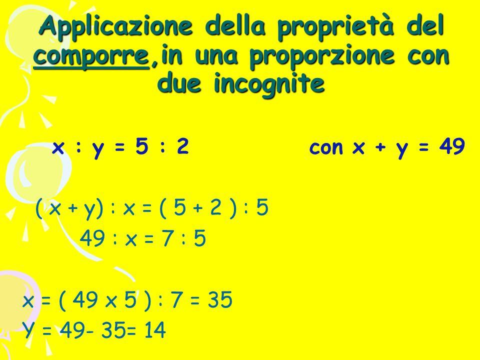 Applicazione della proprietà del comporre,in una proporzione con due incognite