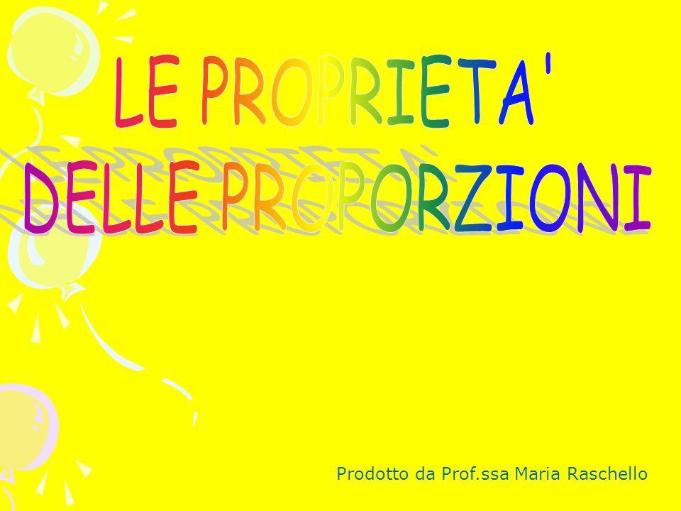 LE PROPRIETA DELLE PROPORZIONI Prodotto da Prof.ssa Maria Raschello
