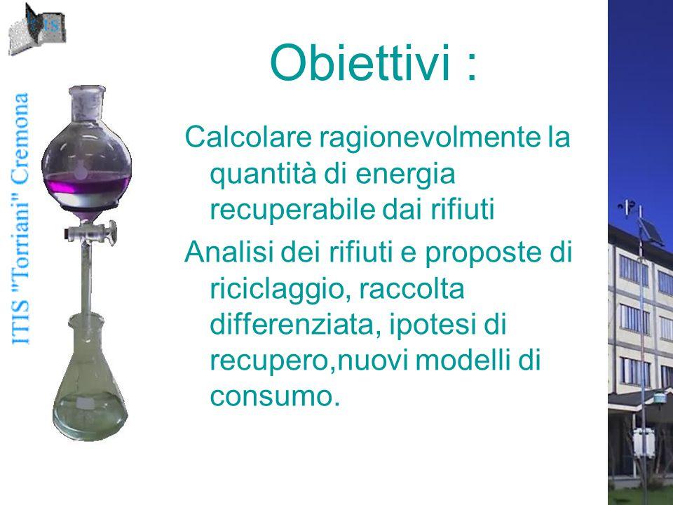 Obiettivi : Calcolare ragionevolmente la quantità di energia recuperabile dai rifiuti.