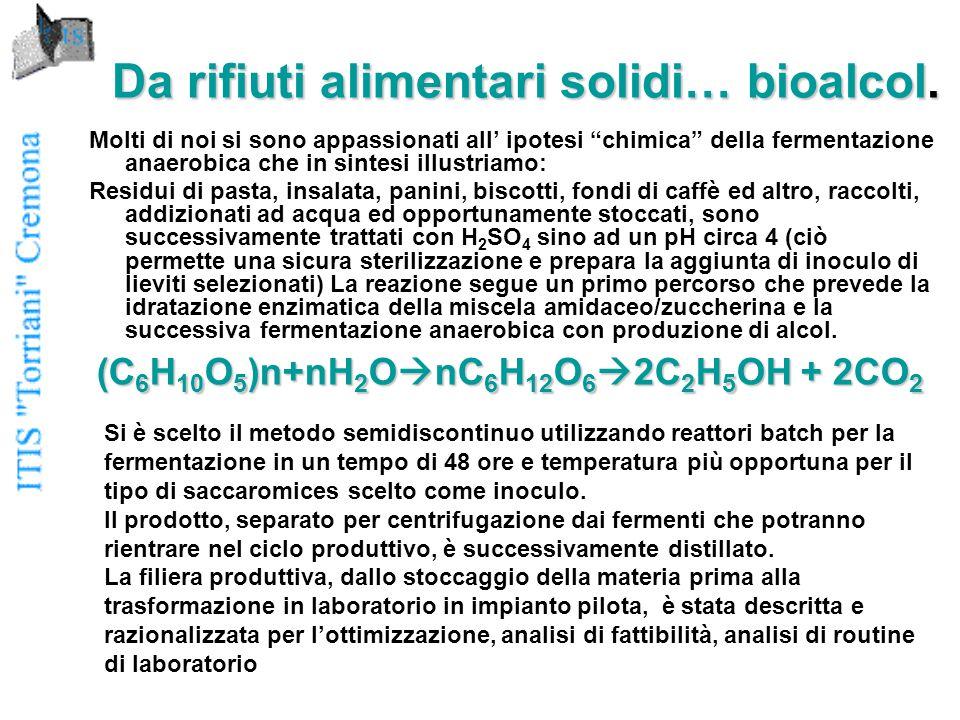 Da rifiuti alimentari solidi… bioalcol.