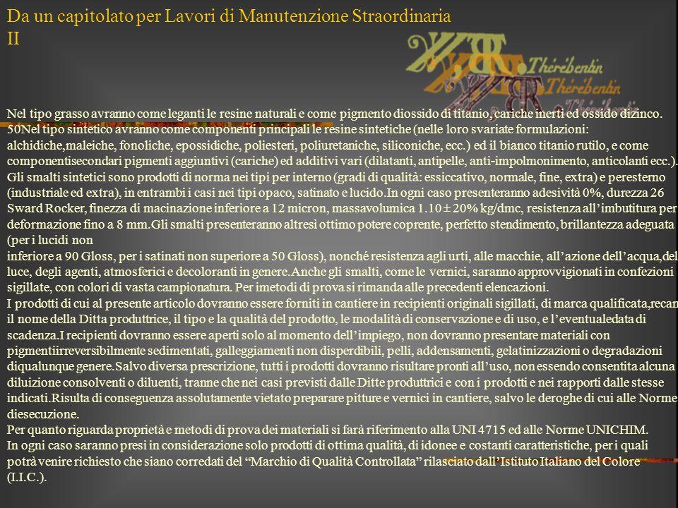 Da un capitolato per Lavori di Manutenzione Straordinaria II