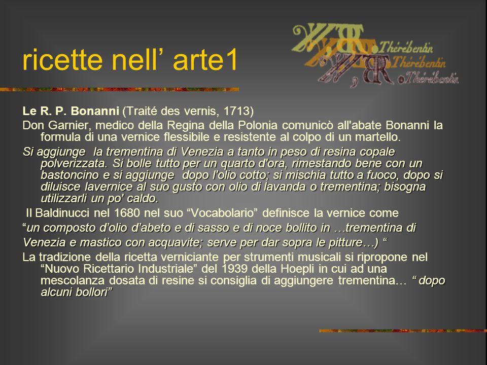 ricette nell' arte1 Le R. P. Bonanni (Traité des vernis, 1713)