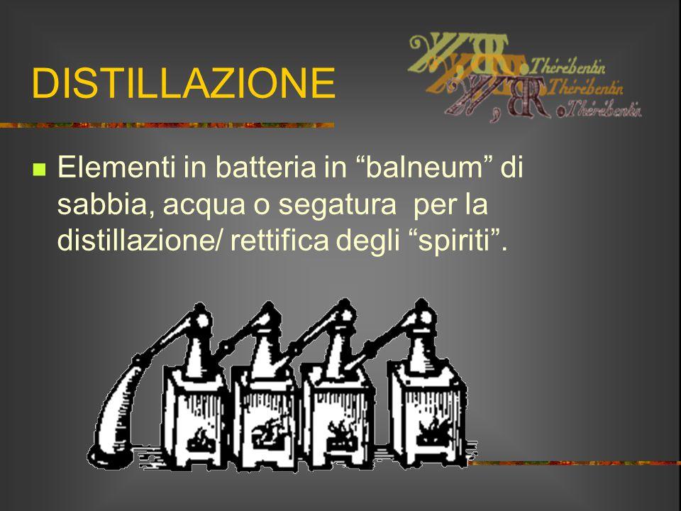 DISTILLAZIONE Elementi in batteria in balneum di sabbia, acqua o segatura per la distillazione/ rettifica degli spiriti .