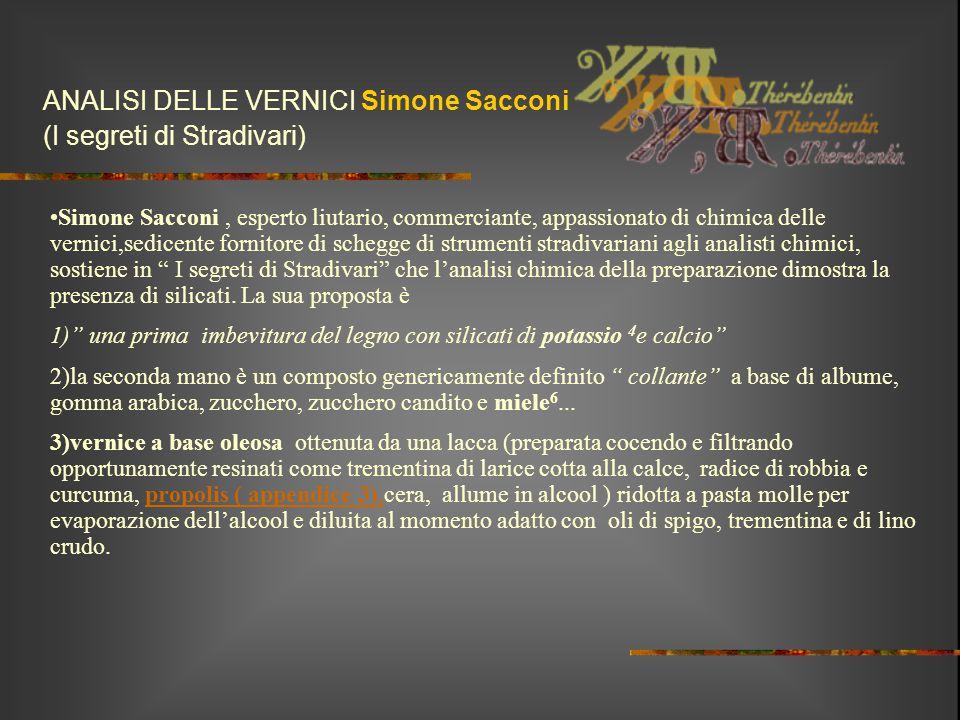 ANALISI DELLE VERNICI Simone Sacconi (I segreti di Stradivari)