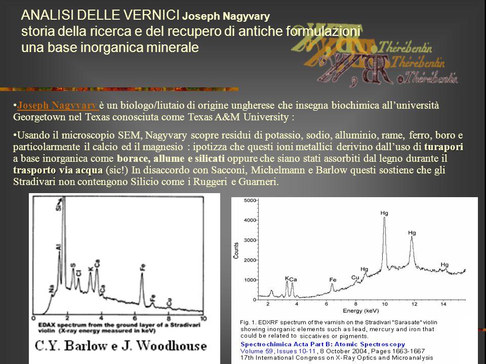 ANALISI DELLE VERNICI Joseph Nagyvary storia della ricerca e del recupero di antiche formulazioni una base inorganica minerale