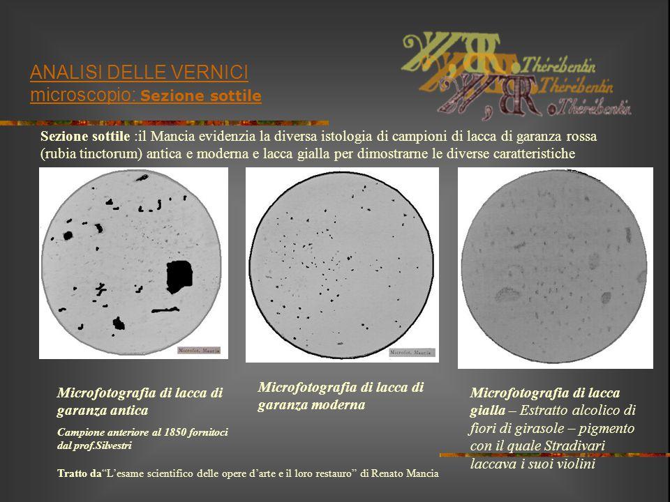 ANALISI DELLE VERNICI microscopio: Sezione sottile