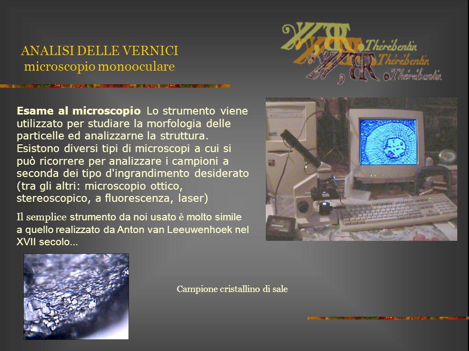 ANALISI DELLE VERNICI microscopio monooculare