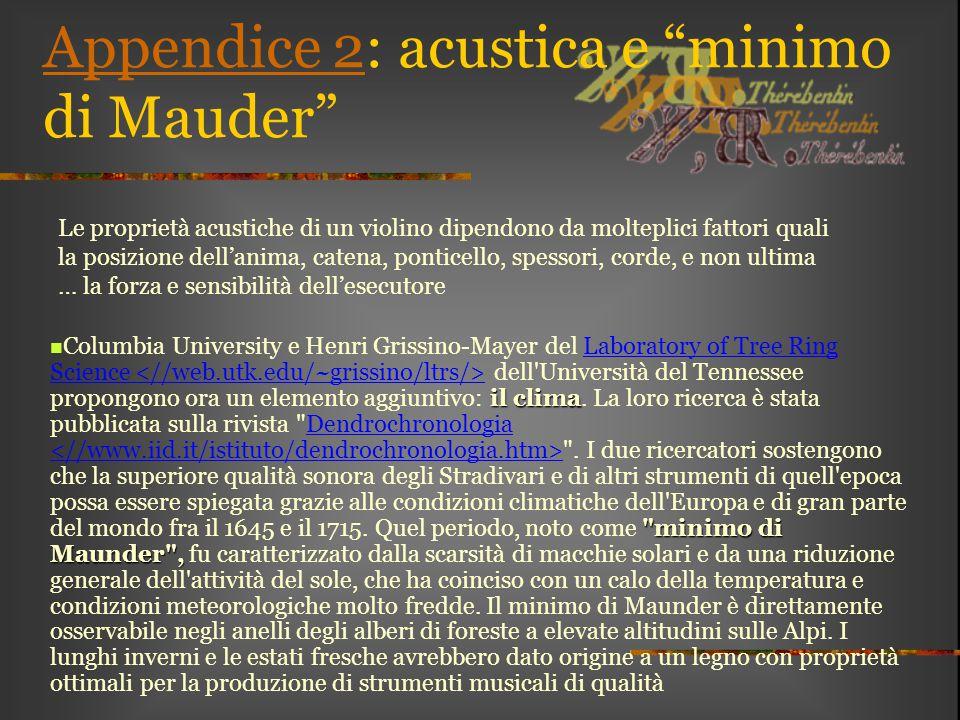 Appendice 2: acustica e minimo di Mauder