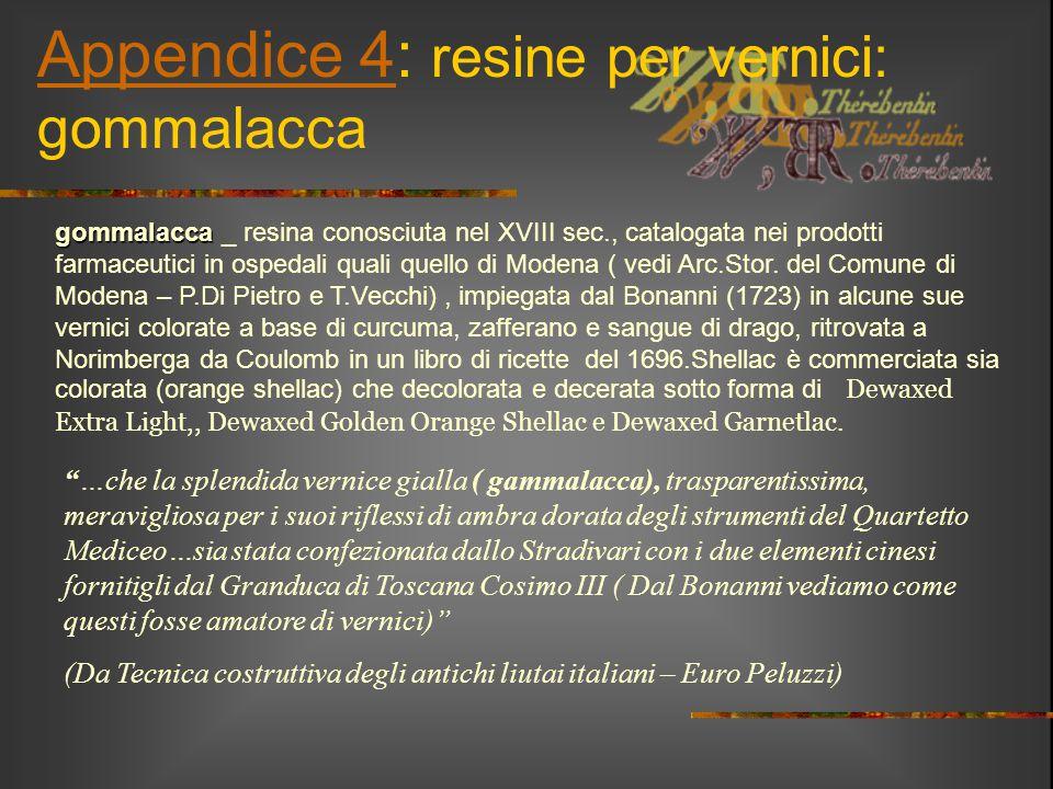 Appendice 4: resine per vernici: gommalacca