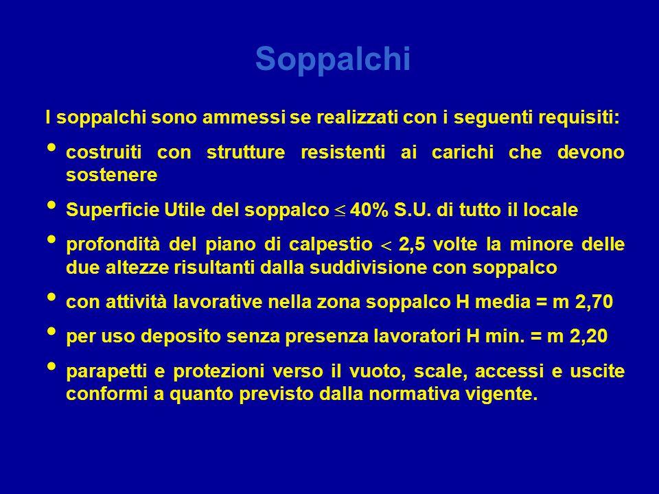 Soppalchi I soppalchi sono ammessi se realizzati con i seguenti requisiti: costruiti con strutture resistenti ai carichi che devono sostenere.