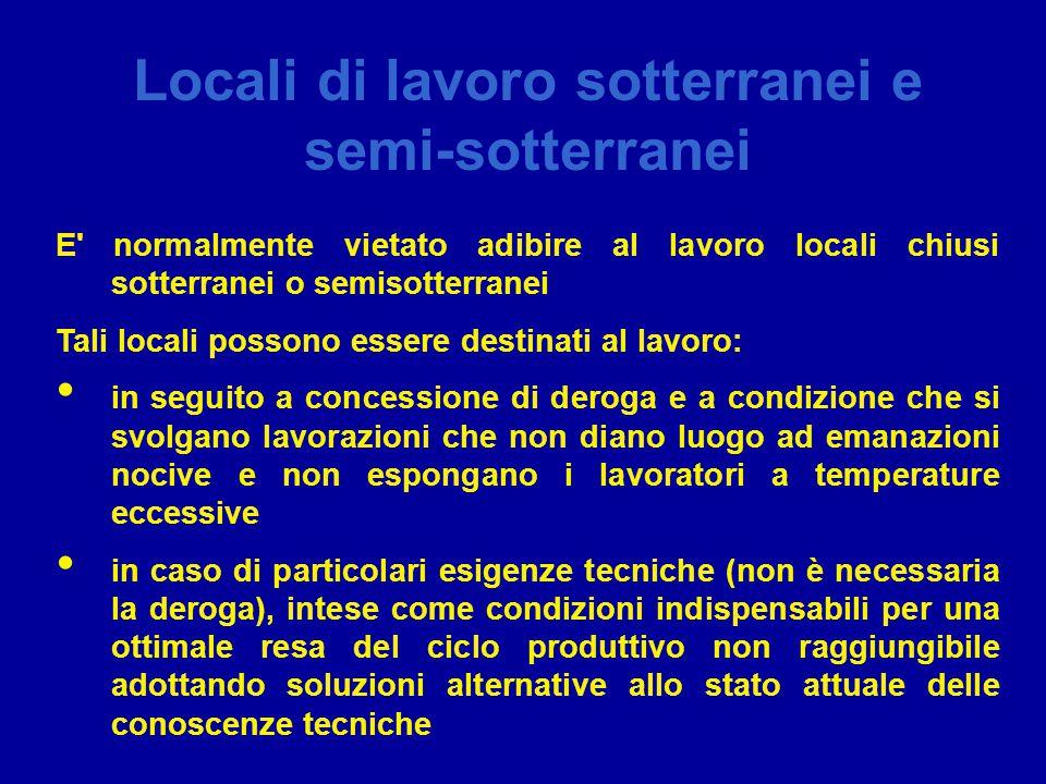 Locali di lavoro sotterranei e semi-sotterranei