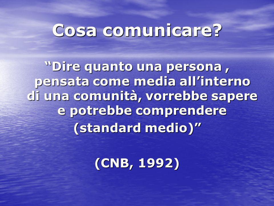 Cosa comunicare Dire quanto una persona , pensata come media all'interno di una comunità, vorrebbe sapere e potrebbe comprendere.