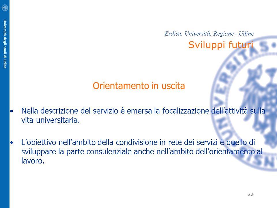 Erdisu, Università, Regione - Udine Sviluppi futuri
