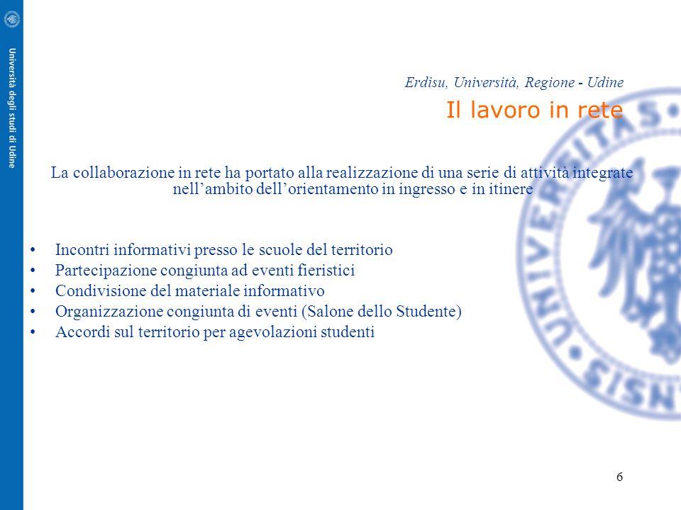 Erdisu, Università, Regione - Udine Il lavoro in rete
