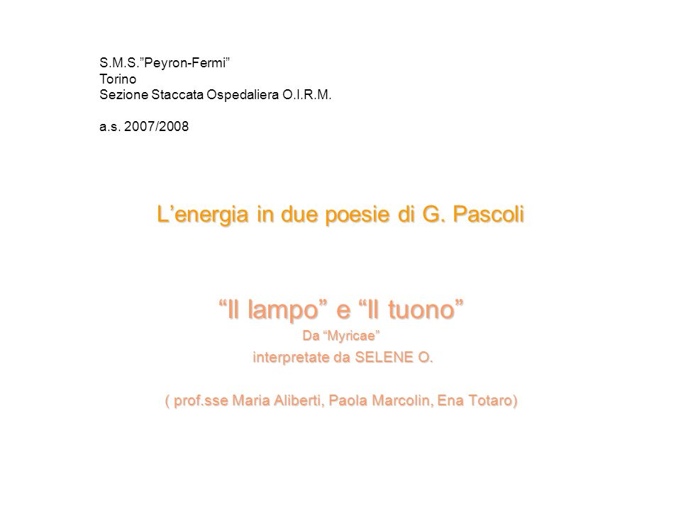 L'energia in due poesie di G. Pascoli