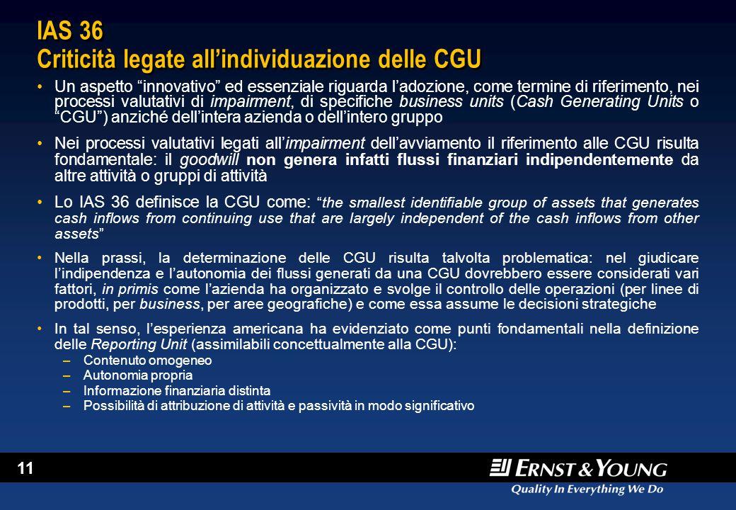 IAS 36 Criticità legate all'individuazione delle CGU