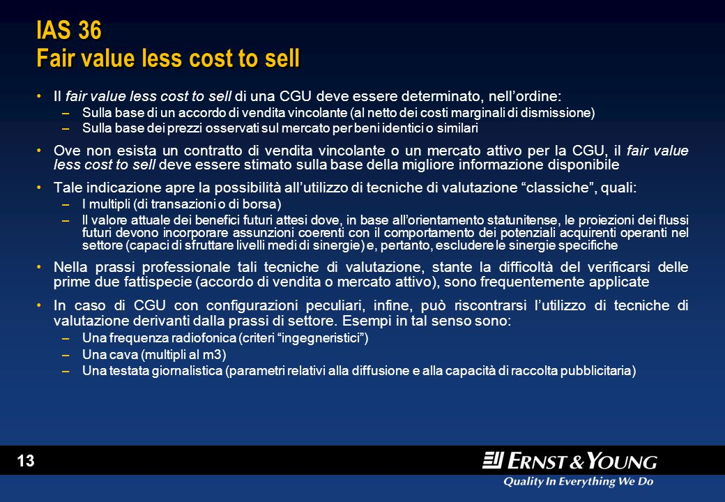IAS 36 Fair value less cost to sell