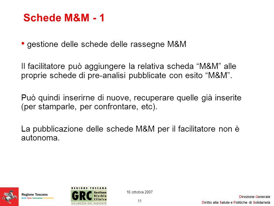 Schede M&M - 1 gestione delle schede delle rassegne M&M