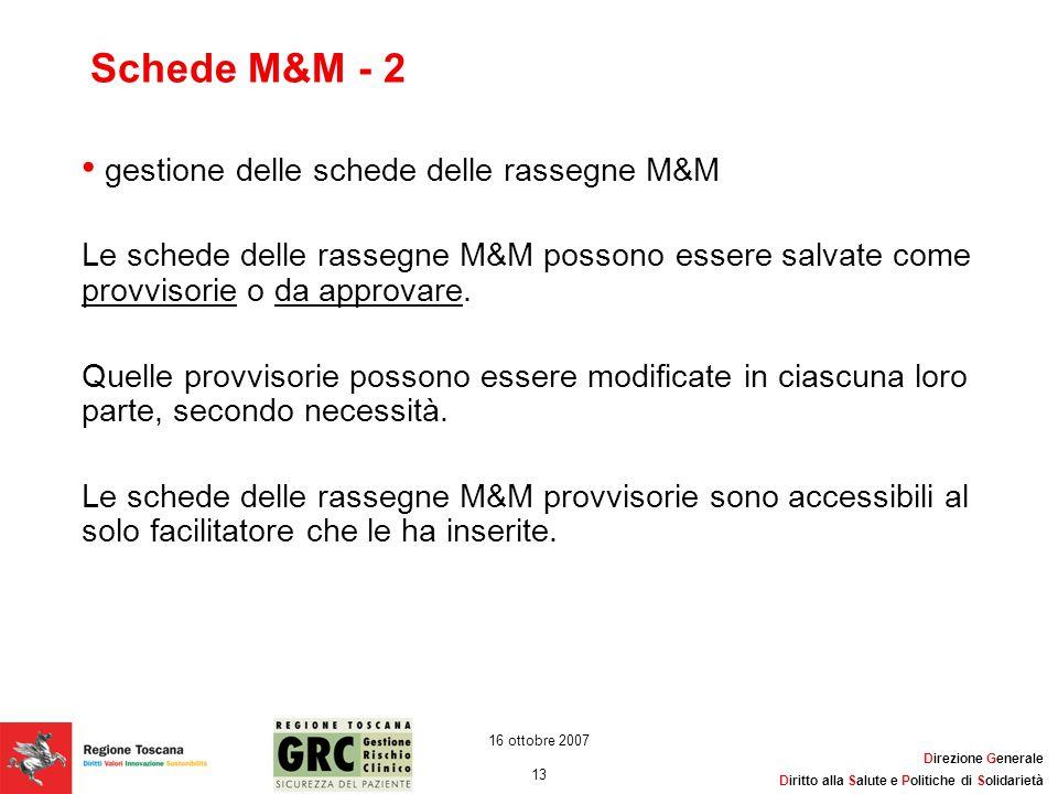 Schede M&M - 2 gestione delle schede delle rassegne M&M