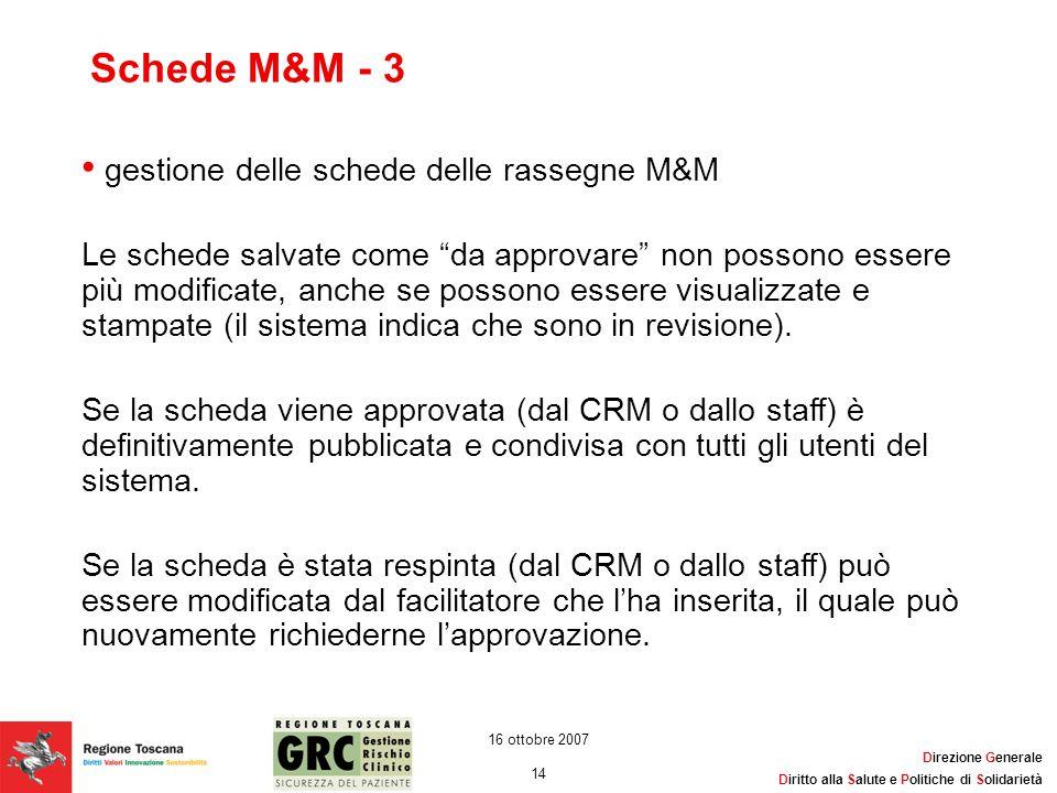 Schede M&M - 3 gestione delle schede delle rassegne M&M