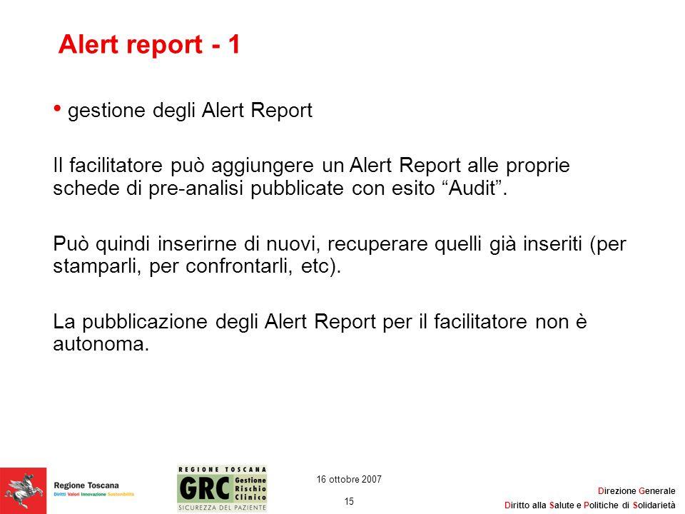 Alert report - 1 gestione degli Alert Report