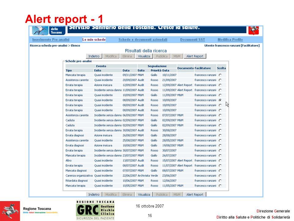 Alert report - 1 16 ottobre 2007