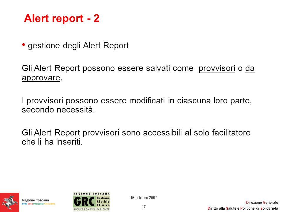 Alert report - 2 gestione degli Alert Report