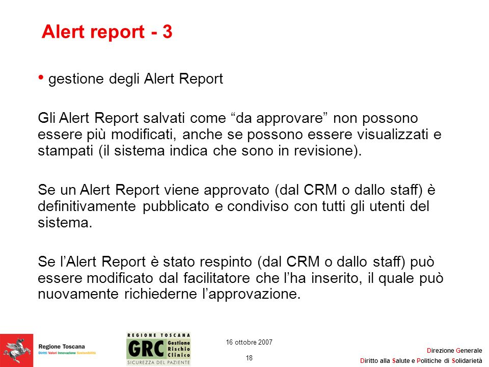 Alert report - 3 gestione degli Alert Report