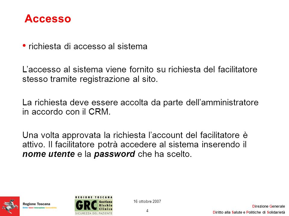 Accesso richiesta di accesso al sistema