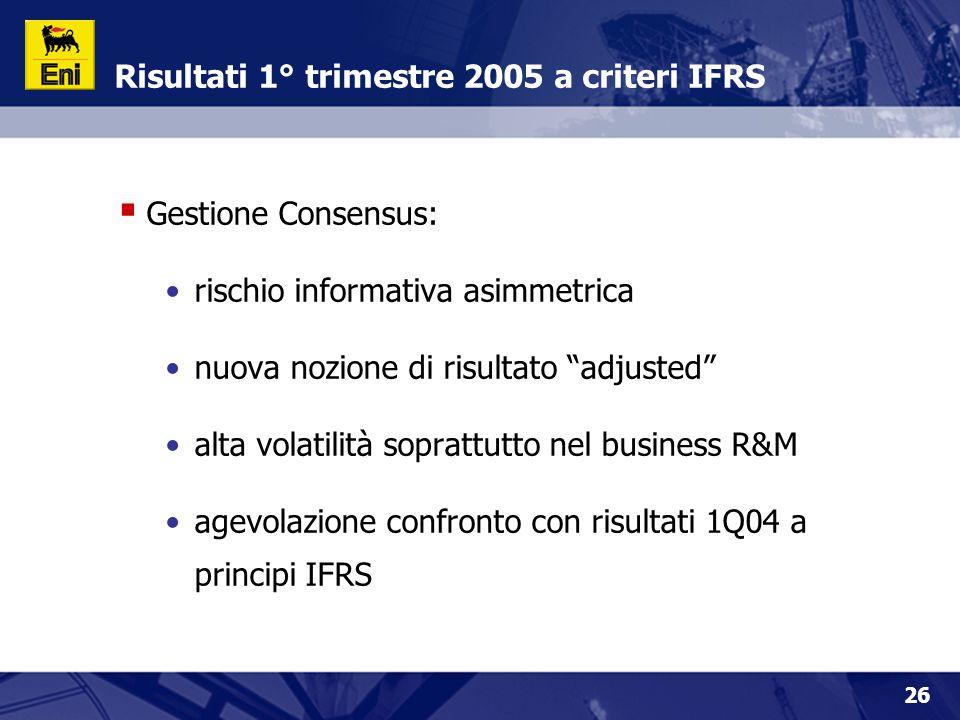Risultati 1° trimestre 2005 a criteri IFRS