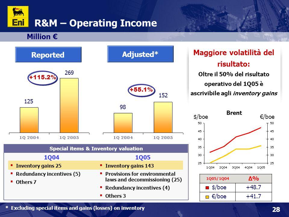 Maggiore volatilità del risultato: Special items & Inventory valuation