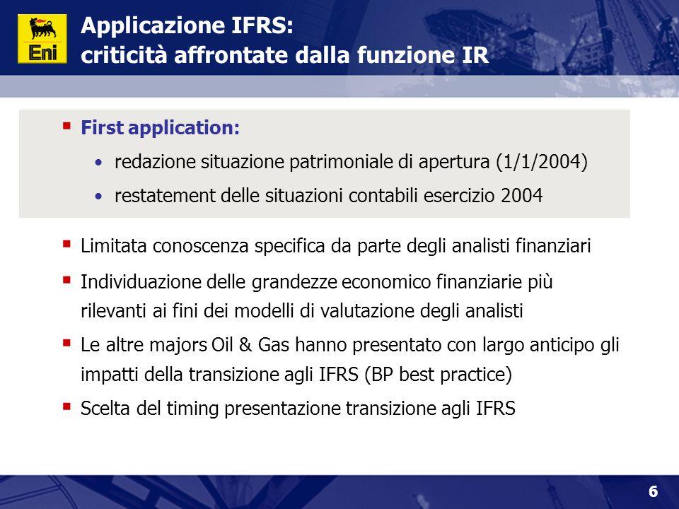 Applicazione IFRS: criticità affrontate dalla funzione IR