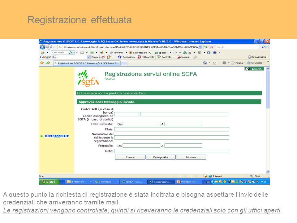 Registrazione effettuata