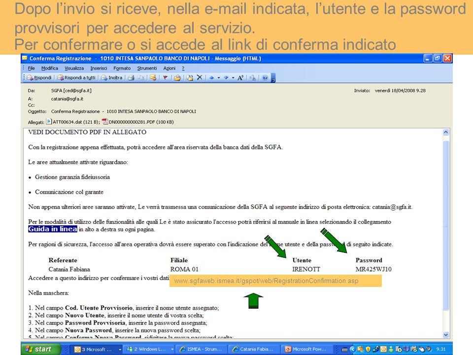 Dopo l'invio si riceve, nella e-mail indicata, l'utente e la password