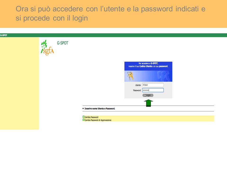 Ora si può accedere con l'utente e la password indicati e