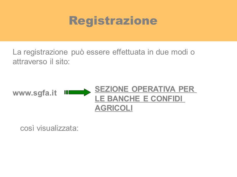 Registrazione La registrazione può essere effettuata in due modi o