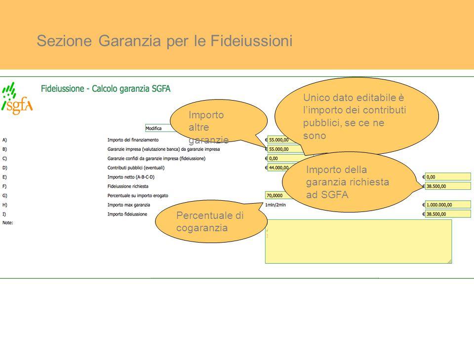 Sezione Garanzia per le Fideiussioni