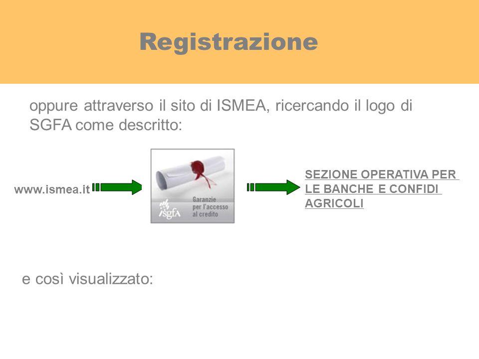 Registrazione oppure attraverso il sito di ISMEA, ricercando il logo di. SGFA come descritto: SEZIONE OPERATIVA PER.