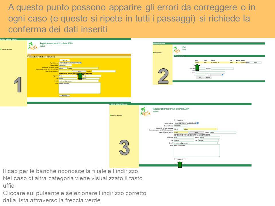 A questo punto possono apparire gli errori da correggere o in ogni caso (e questo si ripete in tutti i passaggi) si richiede la conferma dei dati inseriti