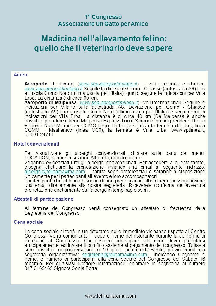 1° Congresso Associazione Un Gatto per Amico Medicina nell'allevamento felino: quello che il veterinario deve sapere