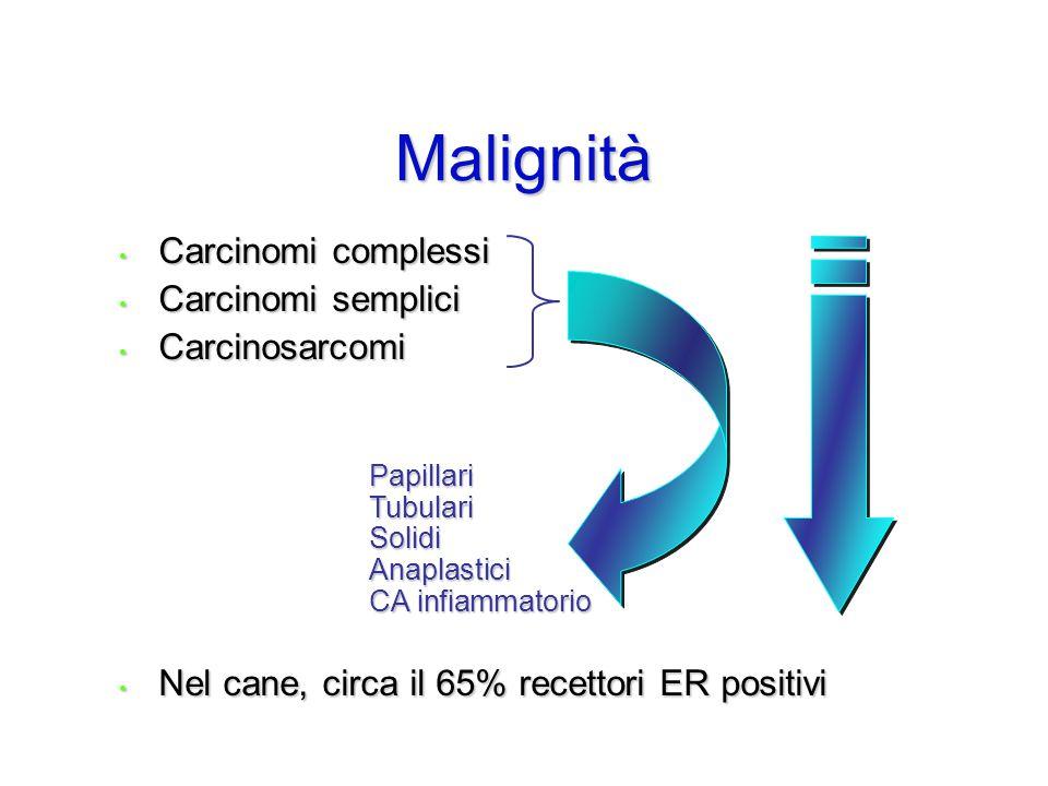 Malignità Carcinomi complessi Carcinomi semplici Carcinosarcomi