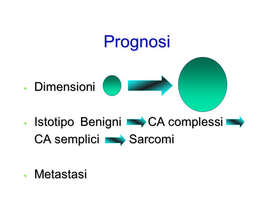 Prognosi Dimensioni Istotipo Benigni CA complessi CA semplici Sarcomi
