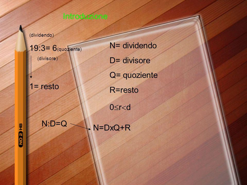 Introduzione 19:3= 6(quoziente) N= dividendo D= divisore Q= quoziente