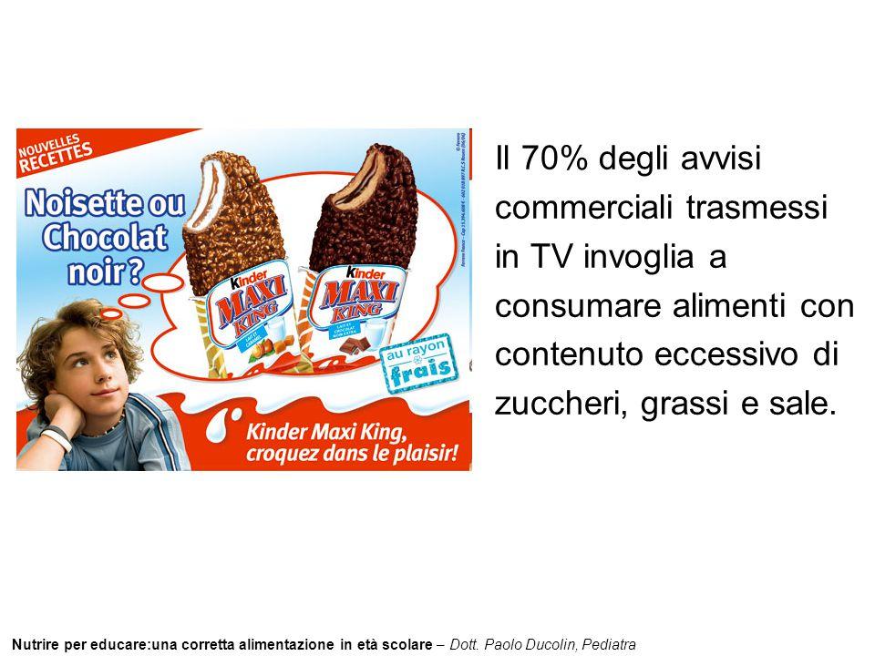 Il 70% degli avvisi commerciali trasmessi in TV invoglia a consumare alimenti con contenuto eccessivo di zuccheri, grassi e sale.