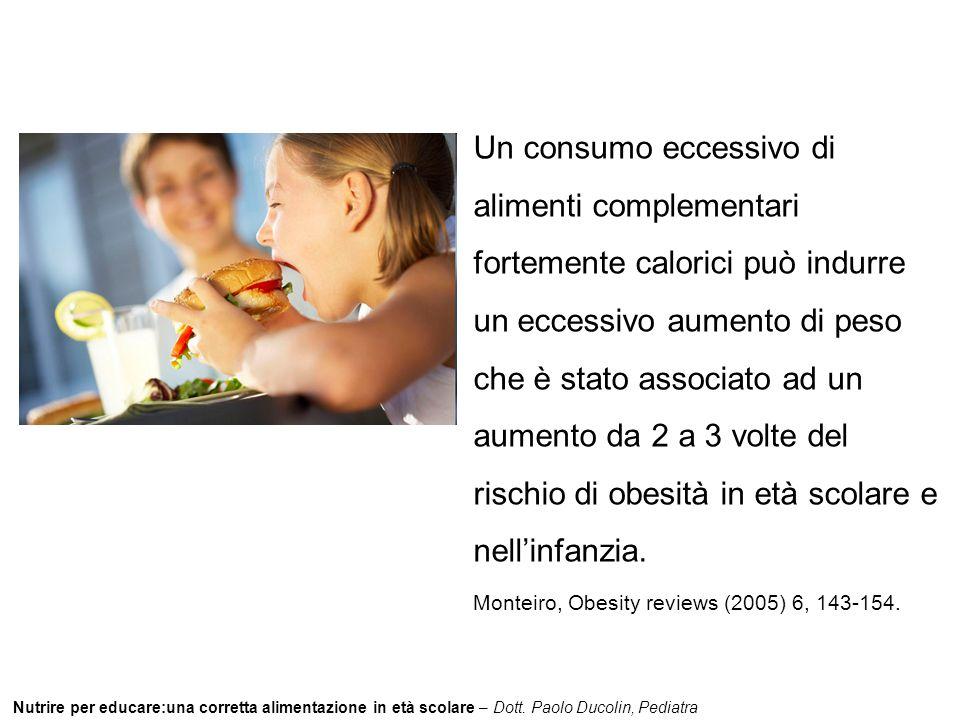 Un consumo eccessivo di alimenti complementari fortemente calorici può indurre un eccessivo aumento di peso che è stato associato ad un aumento da 2 a 3 volte del rischio di obesità in età scolare e nell'infanzia.