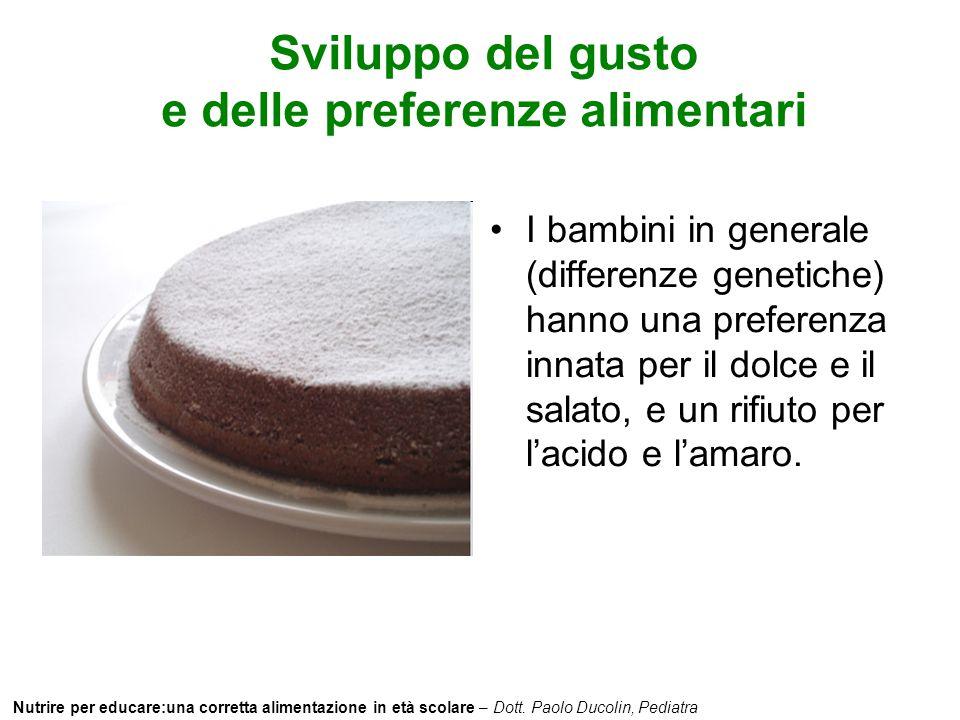 Sviluppo del gusto e delle preferenze alimentari