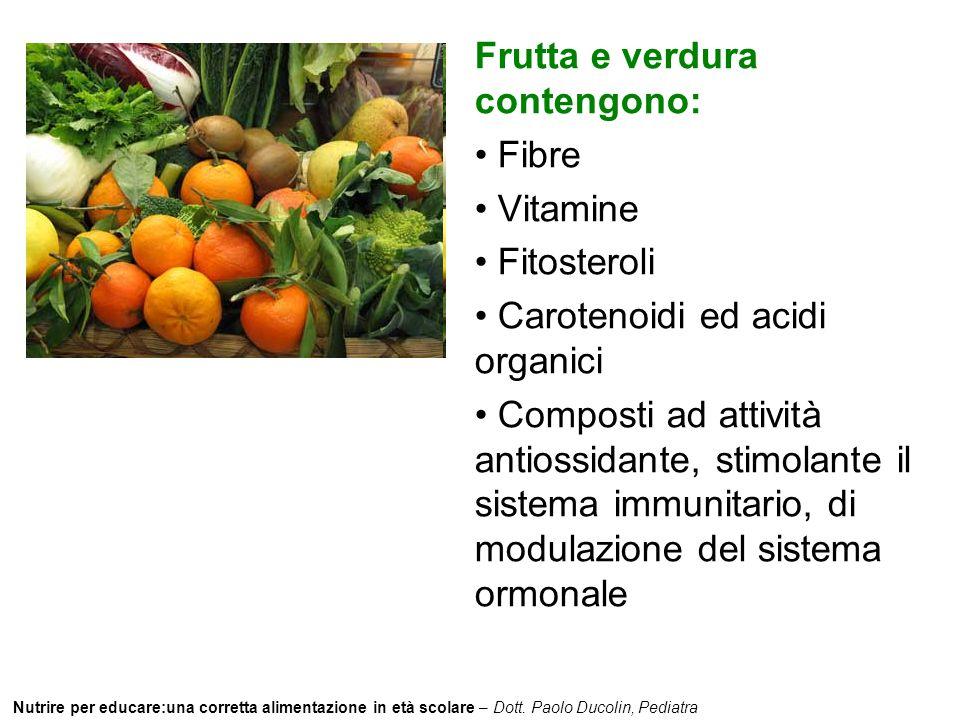Frutta e verdura contengono: