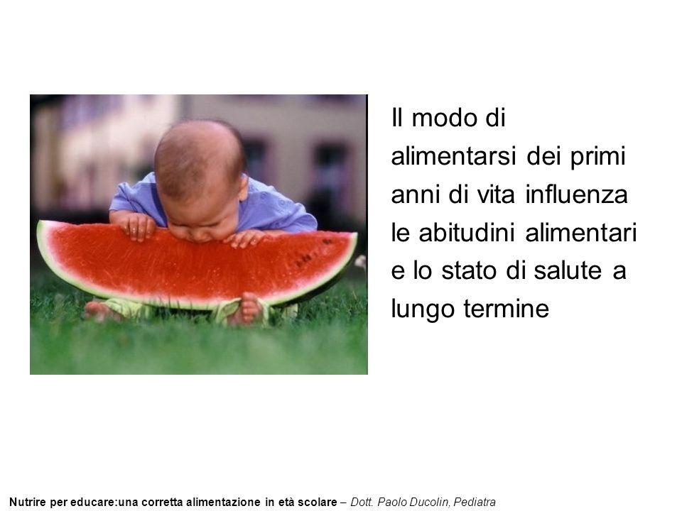 Il modo di alimentarsi dei primi anni di vita influenza le abitudini alimentari e lo stato di salute a lungo termine