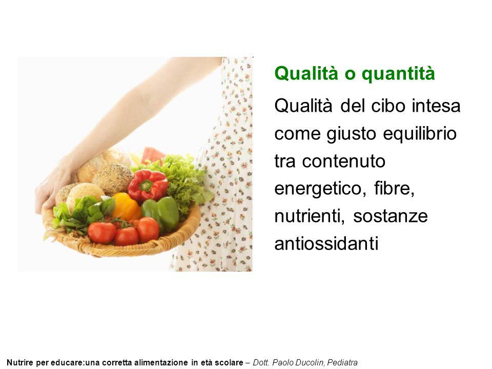 Qualità o quantità Qualità del cibo intesa come giusto equilibrio tra contenuto energetico, fibre, nutrienti, sostanze antiossidanti.