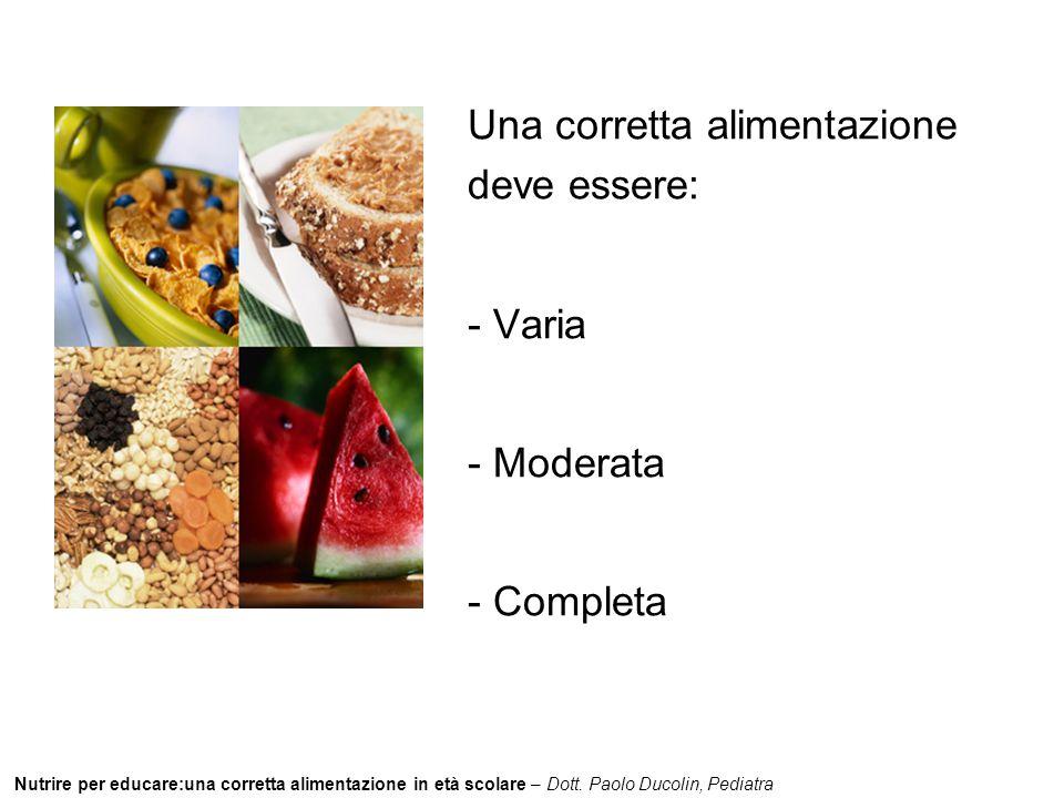 Una corretta alimentazione deve essere: